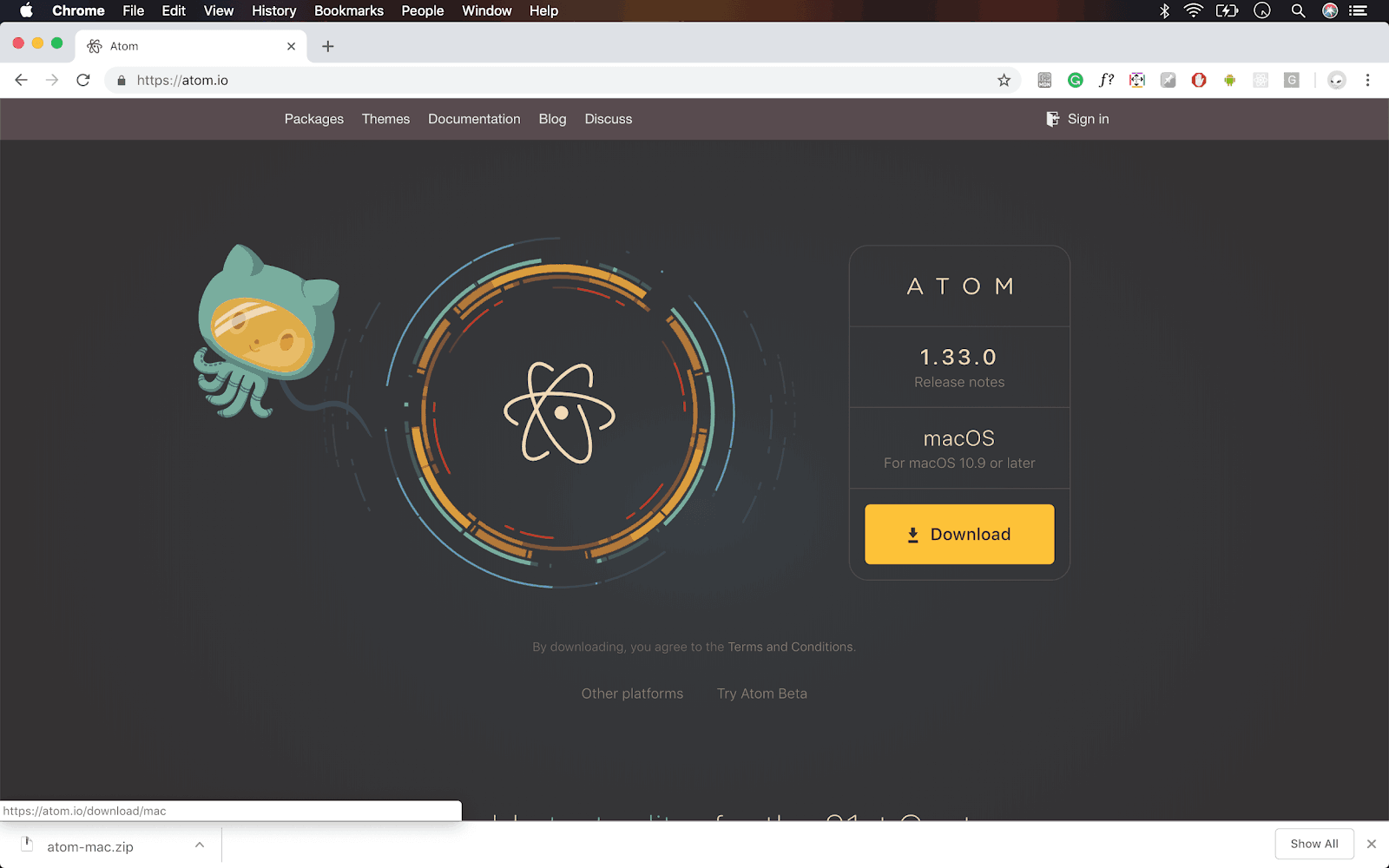 screenshot of atom.io homepage on Mac OS