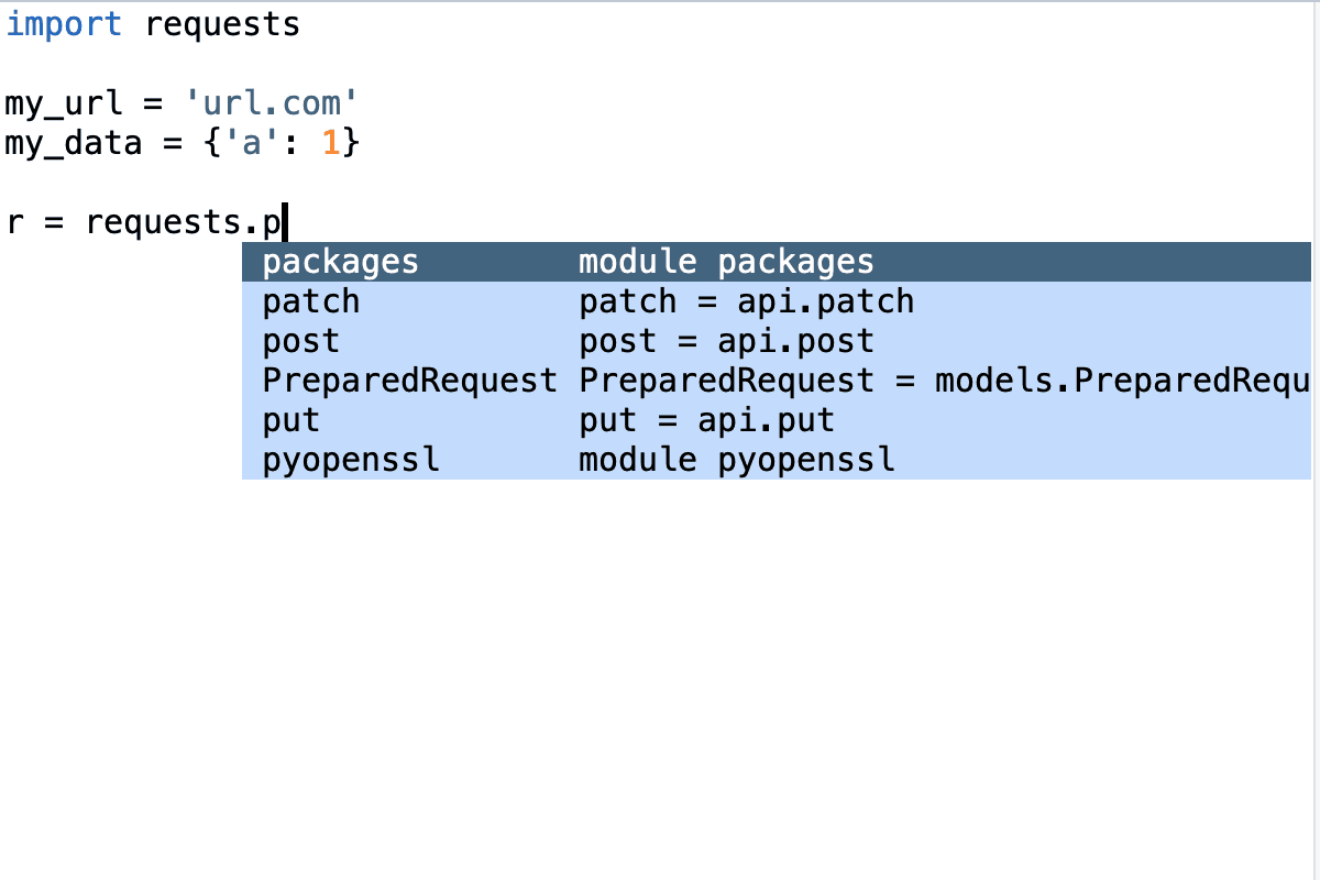 Vim with Jedi requests.p screenshot