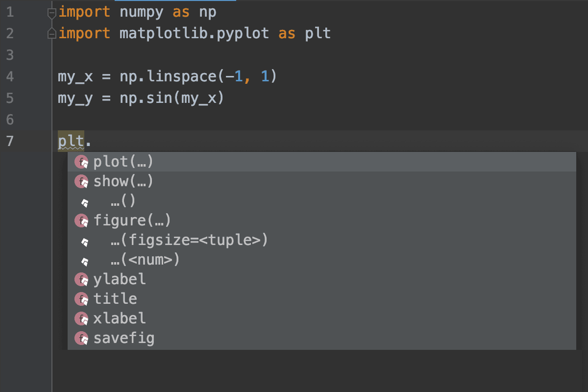 PyCharm with Kite matplotlib.pyplot screenshot