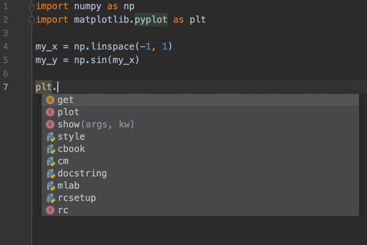 PyCharm without Kite matplotlib.pyplot screenshot