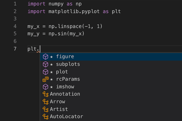 VS Code without Kite matplotlib.pyplot screenshot