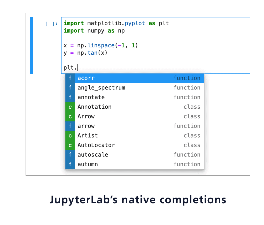 JupyterLab-native-completions screenshot